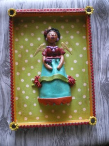 Shadow box Freida using air dry clay